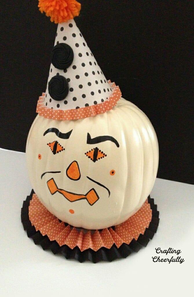 Cute vintage halloween clown pumpkin.