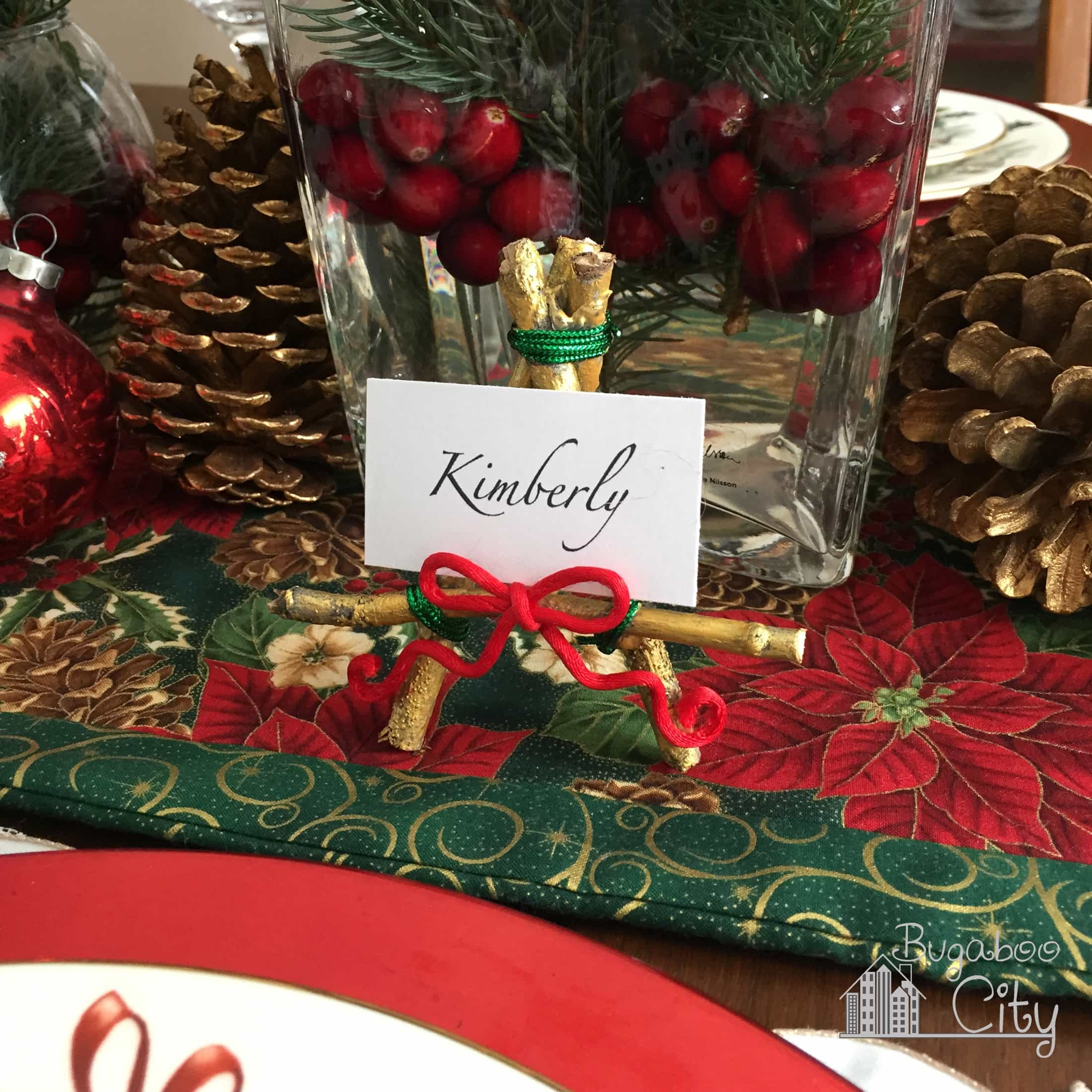 Place card holder easel on a Christmas tablescape.