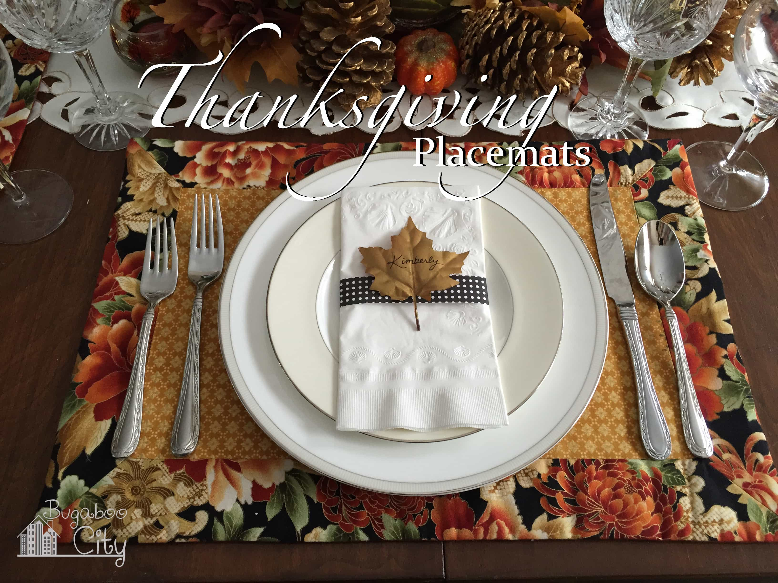 Thanksgiving placemat on a tabletop decorate for Thanksgiving.