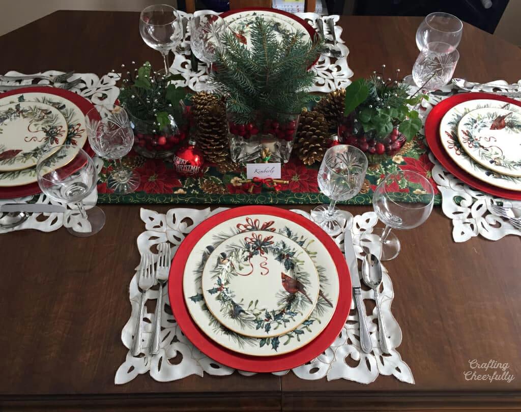 Christmas table setting with handmade Christmas table runner.