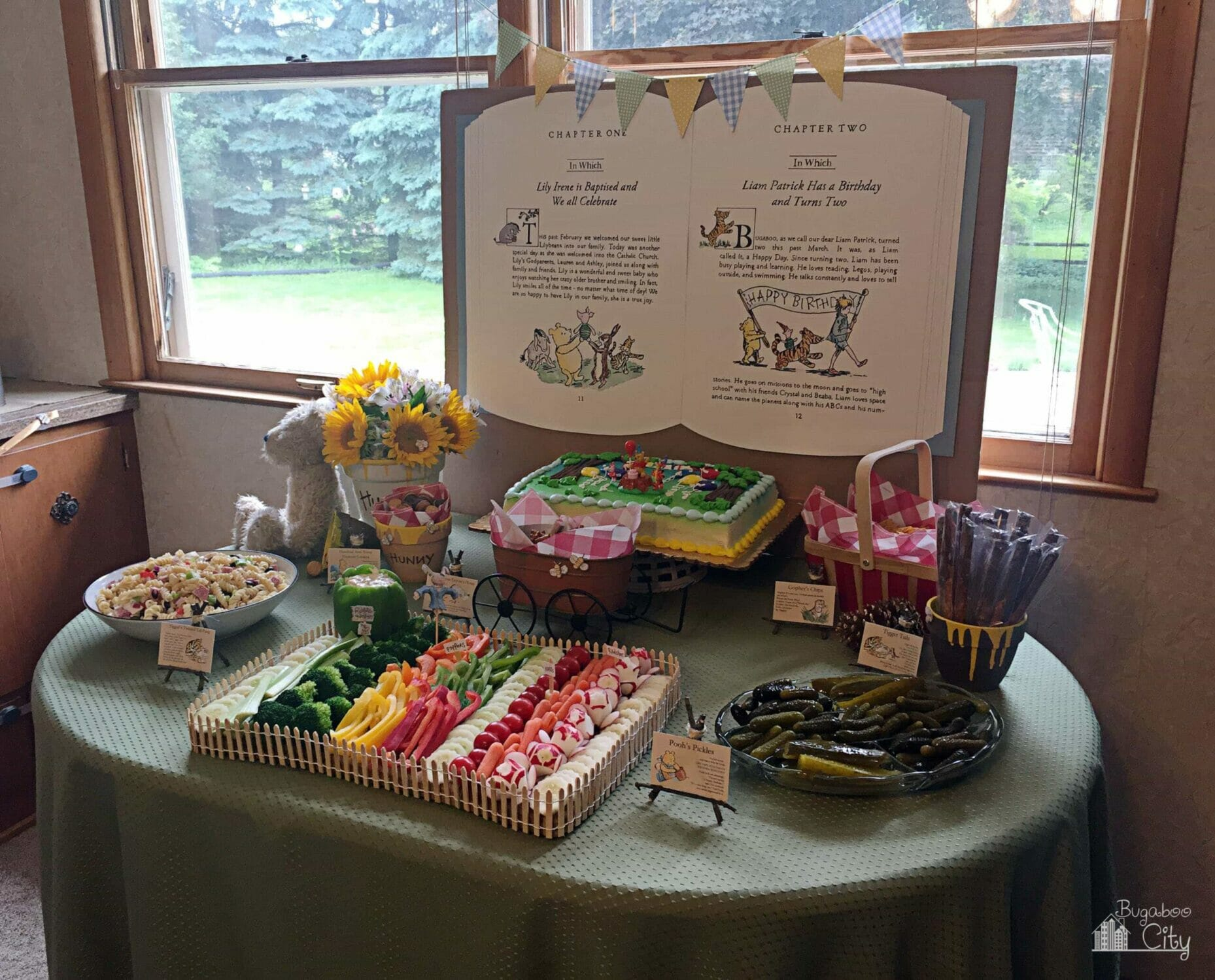 Winnie the Pooh-themed food table.
