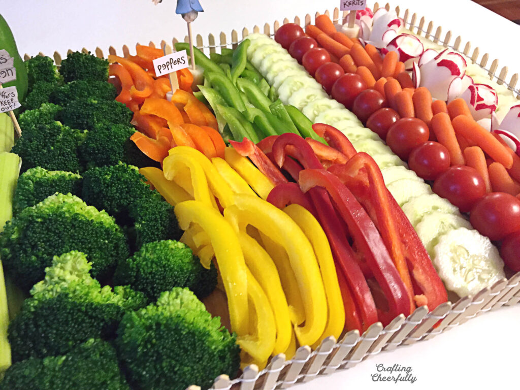 Vegetables are arranged on a cutting board.