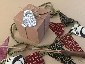 Brown box with an owl gift tag lays next to a banner and wand.