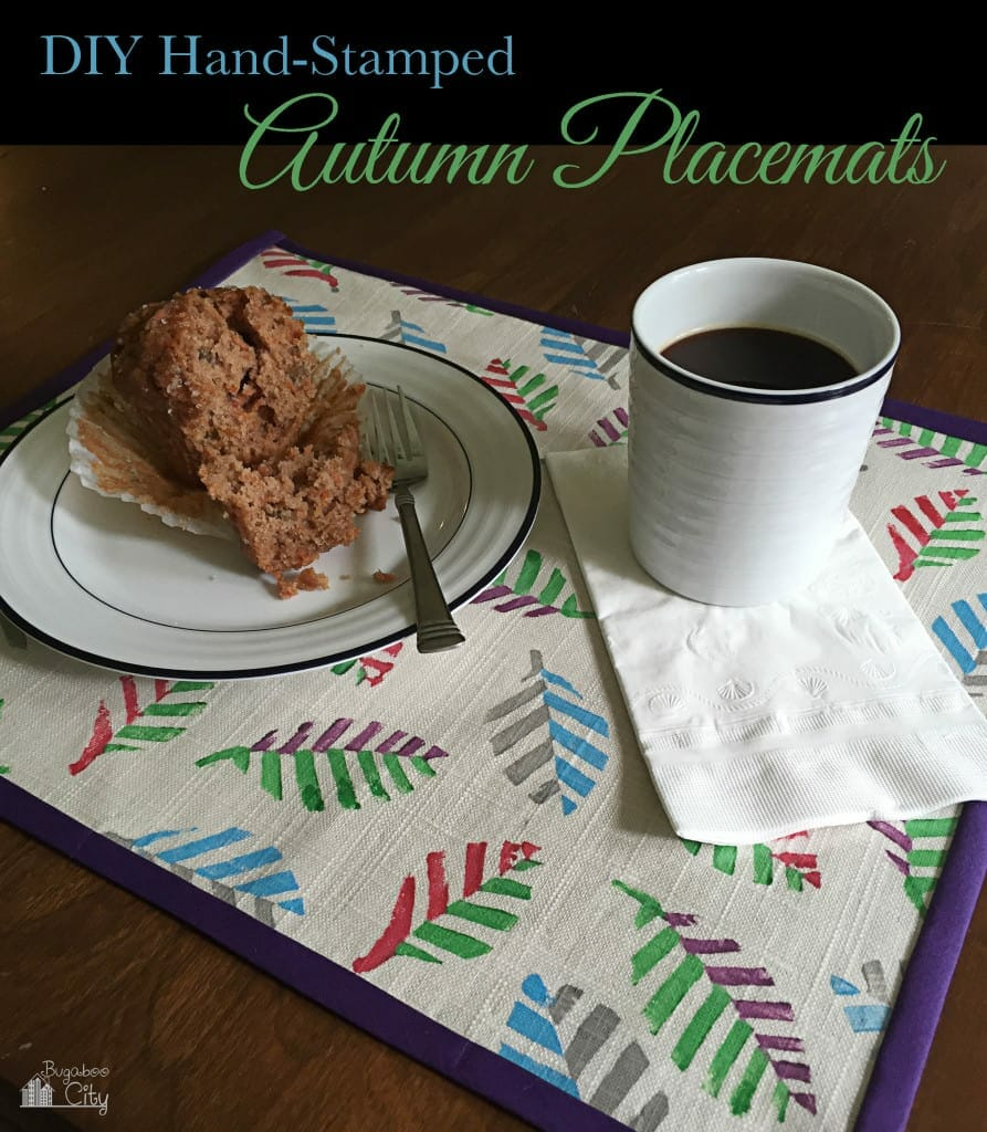 DIY Autumn Placemats Hand Stamped