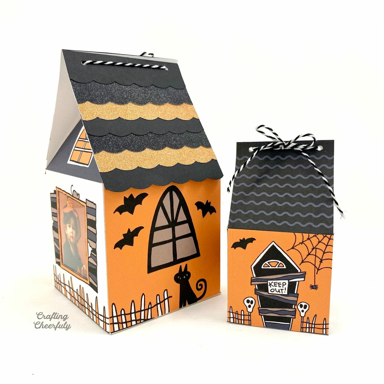 Printable DIY Haunted House treat boxes in orange, black and white.