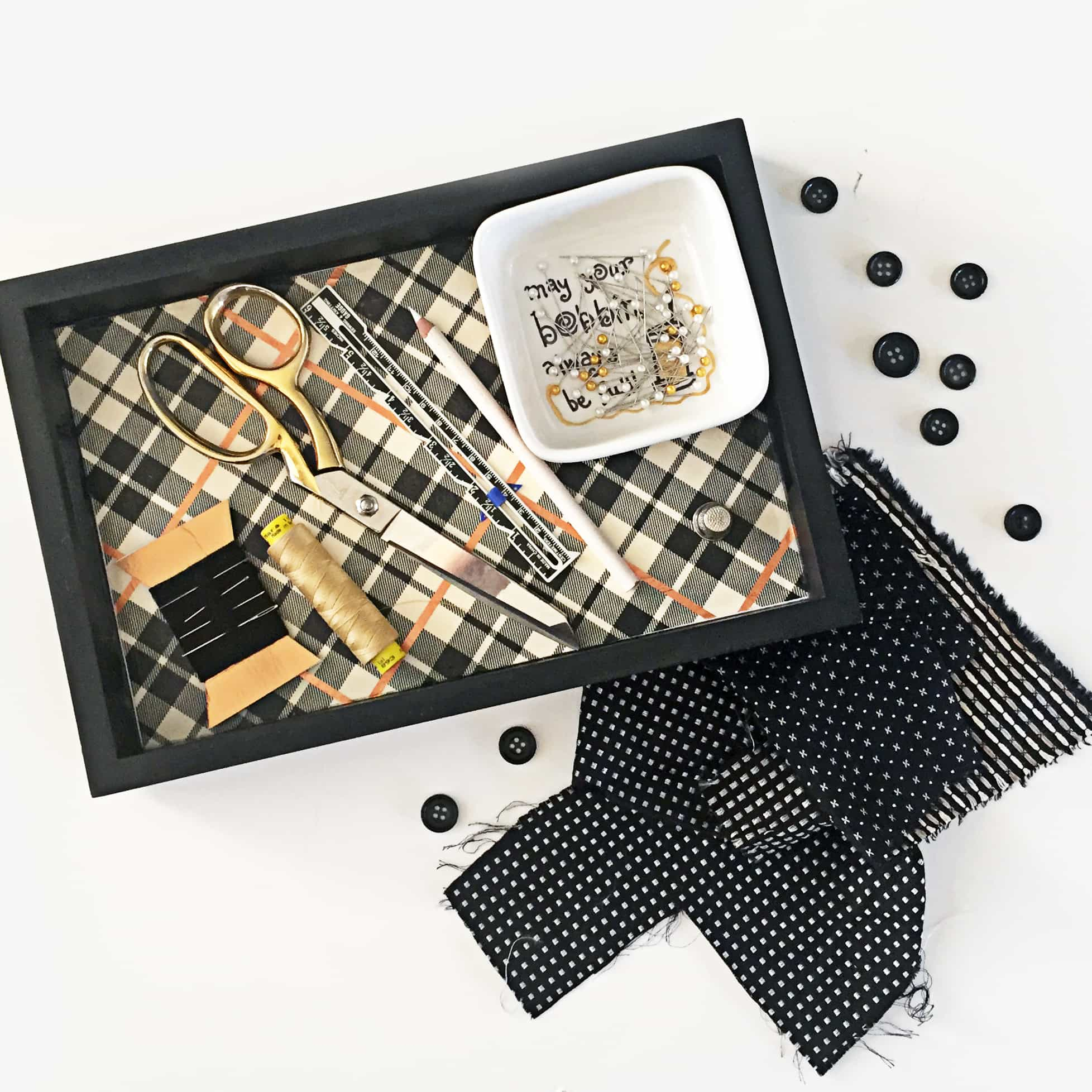 DIY Sewing Tray – with Pin and Needle Holders