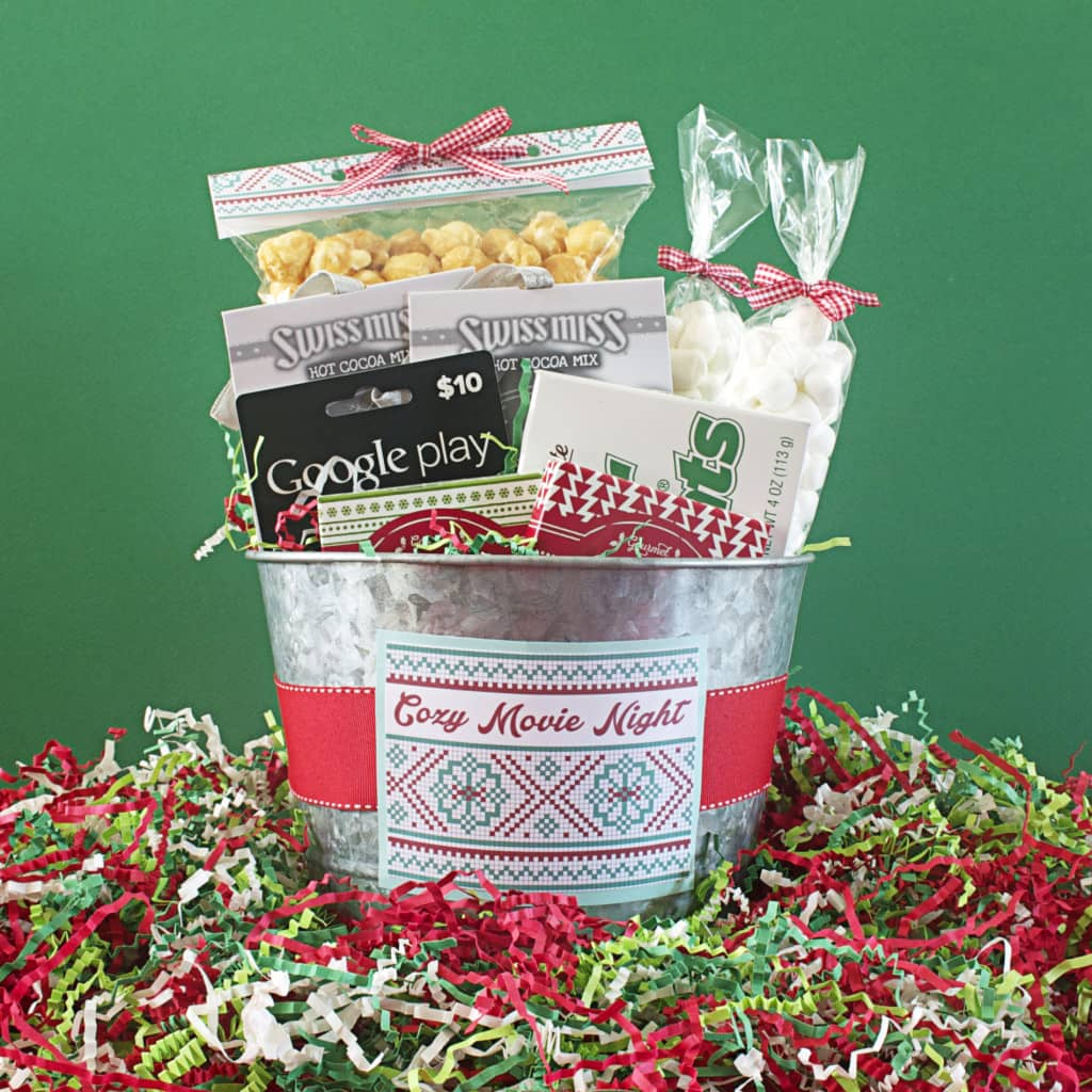 Cozy Movie Night Gift Bucket, Gift Basket
