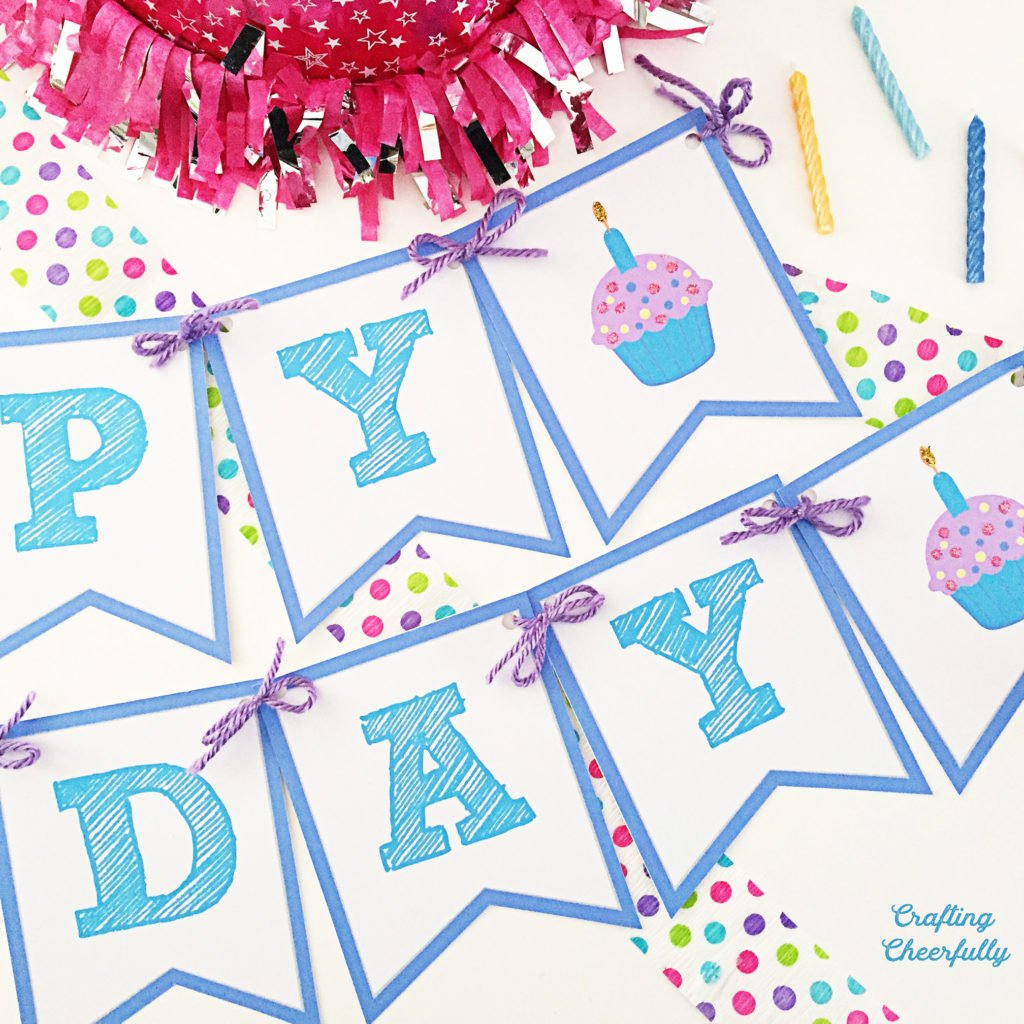 Free Printable Happy Birthday Banner Crafting Cheerfully