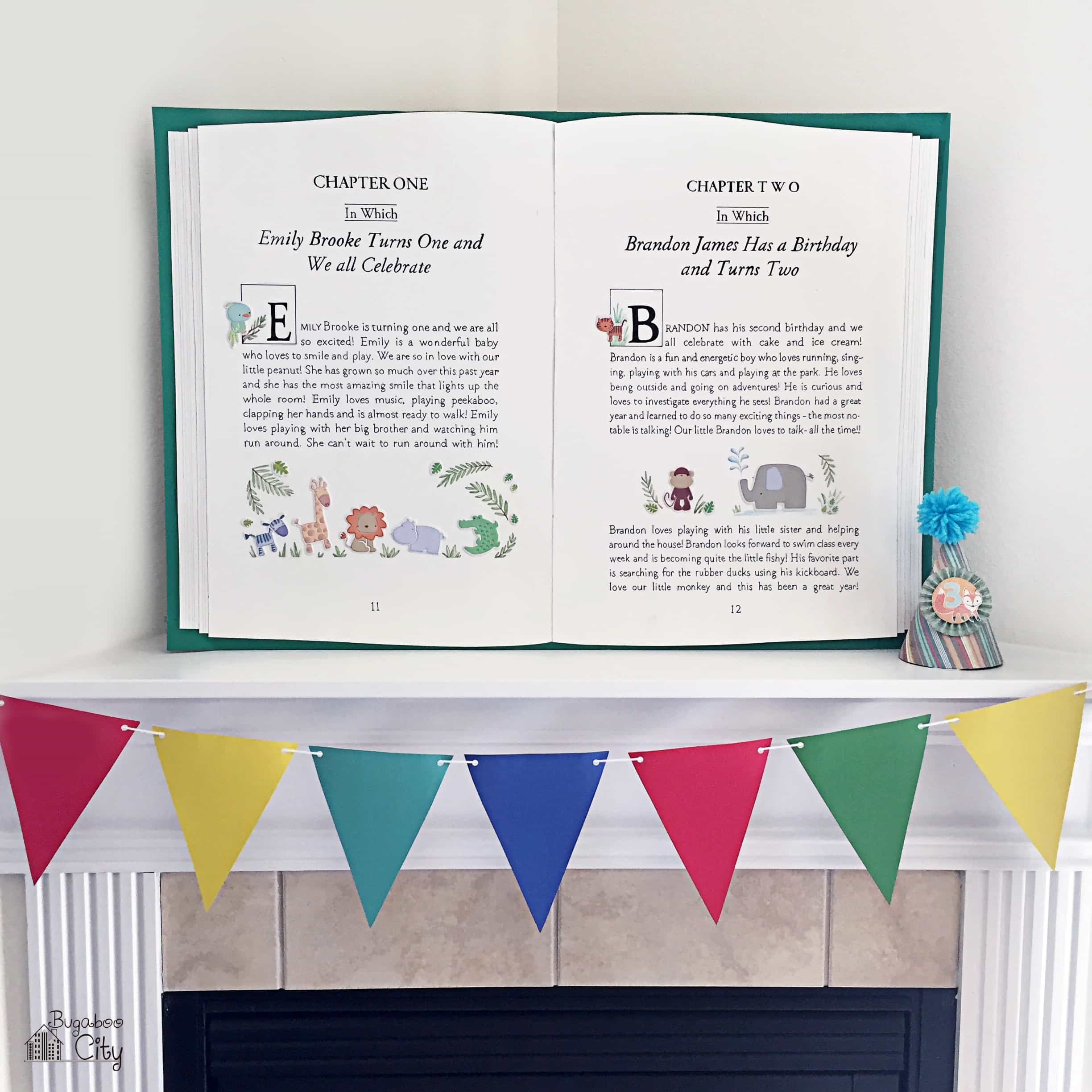 Storybook Party Backdrop on a white mantle with colorful pennant banner.
