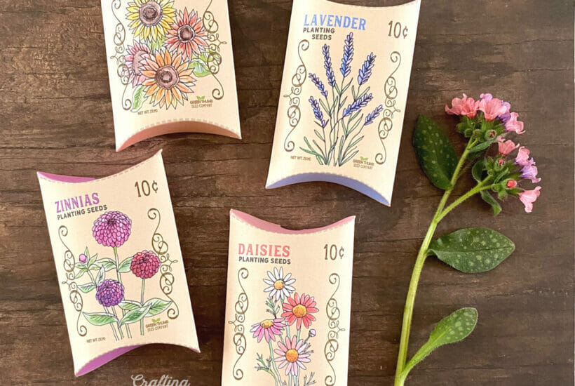 Four flower seed treat boxes lay on a wooden table with a pink flower next to them.