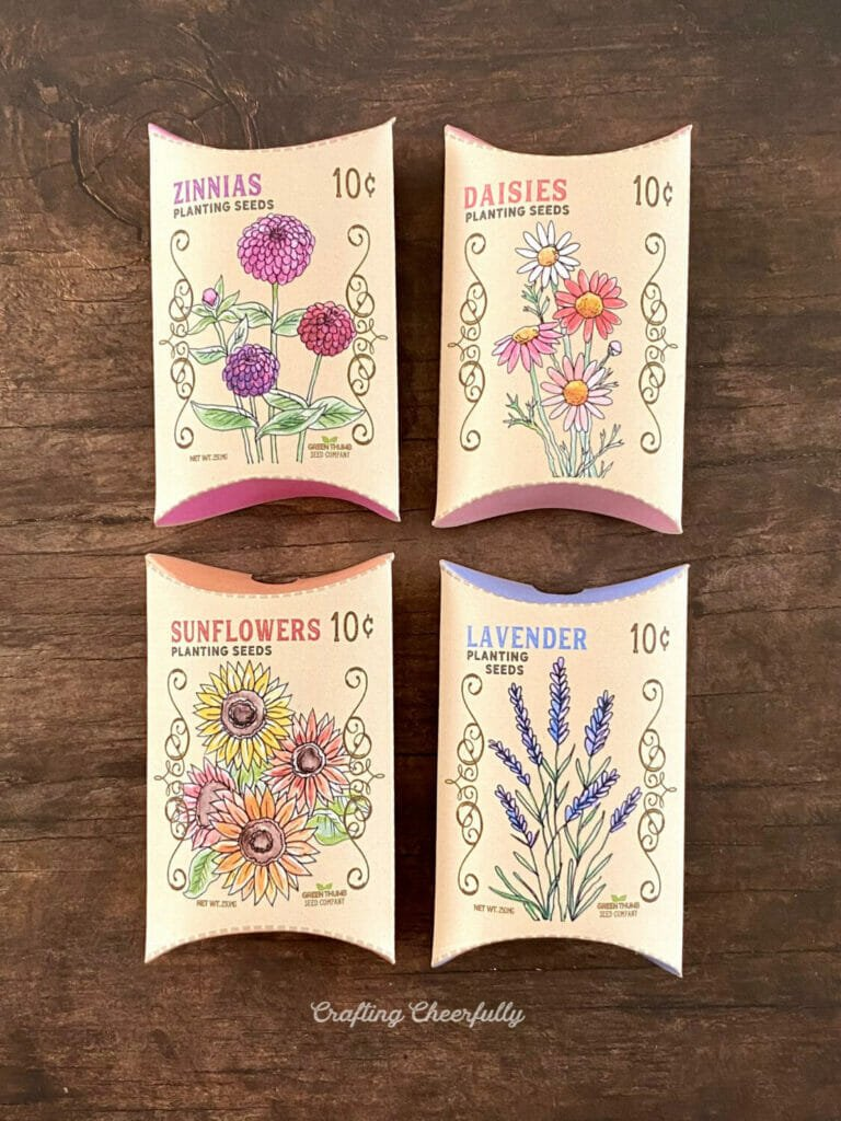 Four small flower seed treat boxes sit next to each other on a wood background.