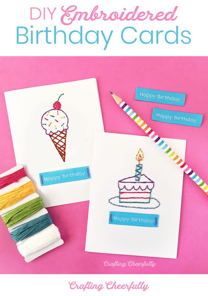 DIY Embroidered Birthday Cards