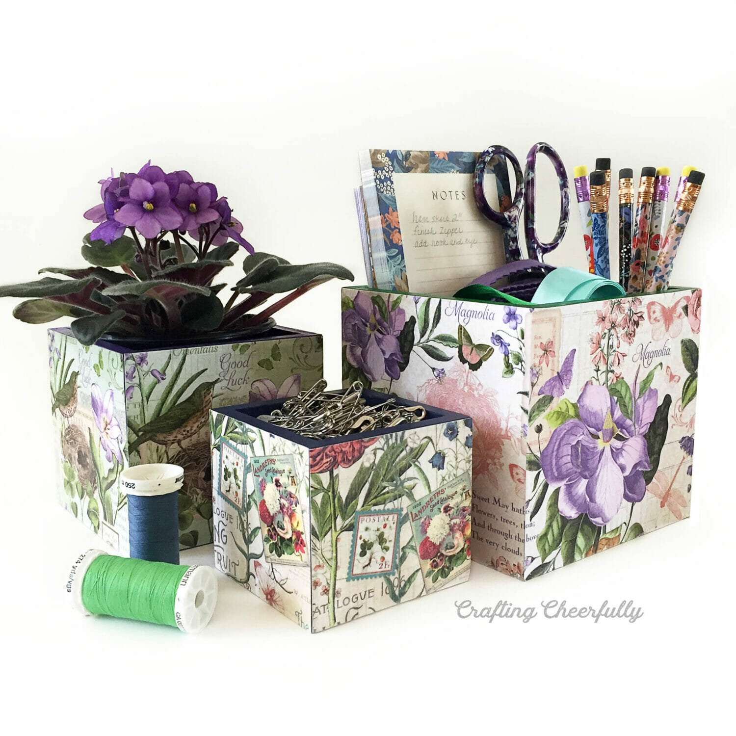 DIY Floral Decoupage Boxes