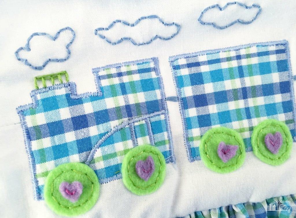 Choo Choo Train Baby dress with free train applique pattern!