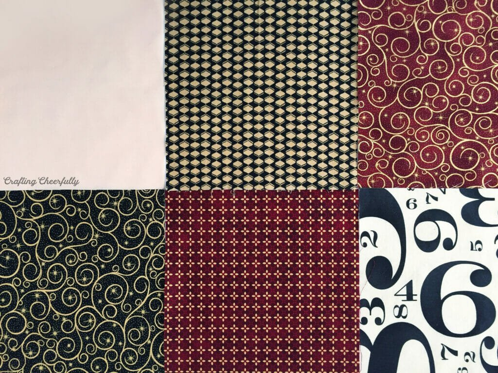 Six fabric swatches in red, black and golds.