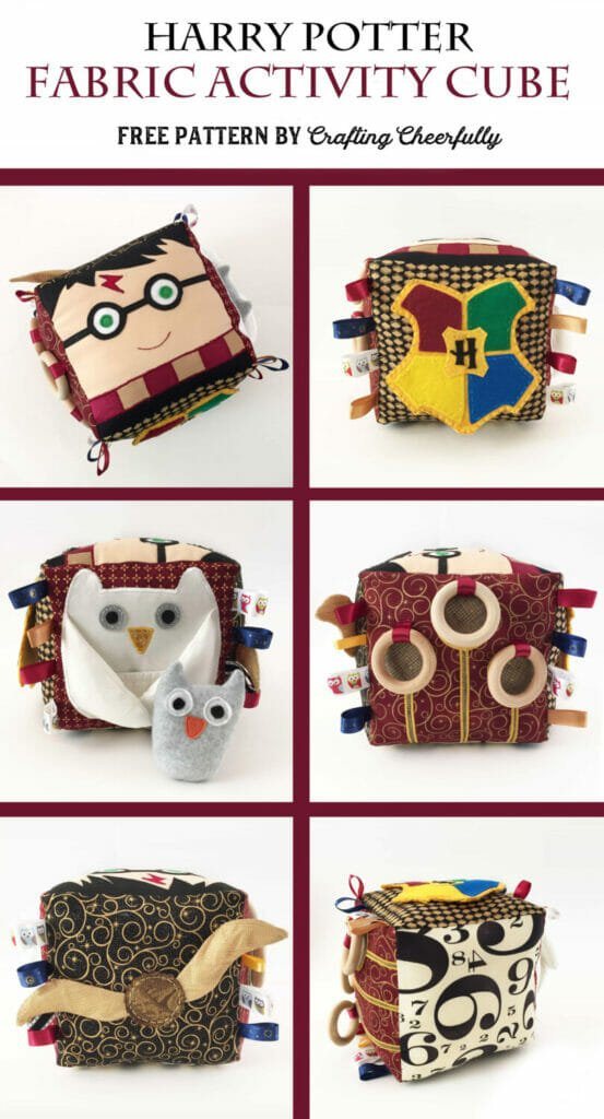 Different views of the Harry Potter activity cube showing all six sides.