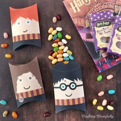 Harry Potter pillow boxes lay on a wooden table next to a book and jellybeans.