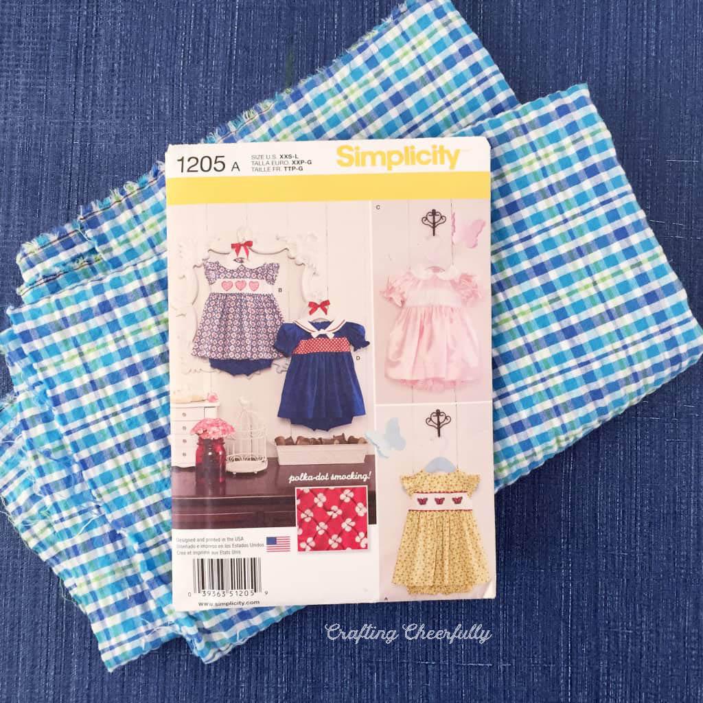 Choo Choo Train Baby dress - plaid fabric with the Simplicity 1205 Pattern