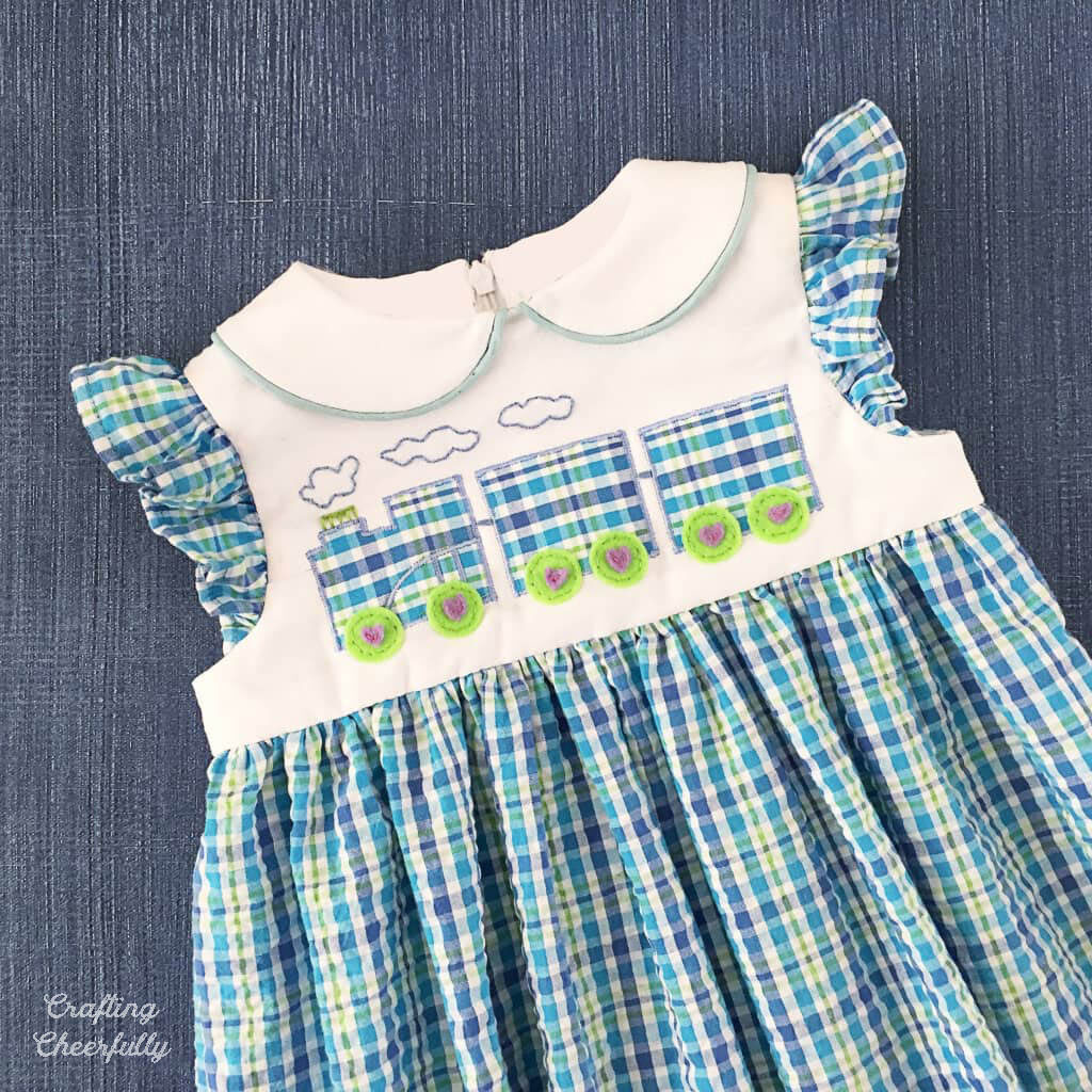 Choo Choo Train Toddler Dress with train applique on the front.
