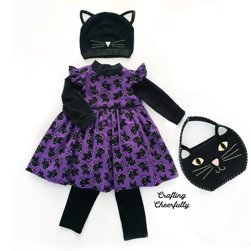 Little black cat purple and black dress with cat hat and cat purse