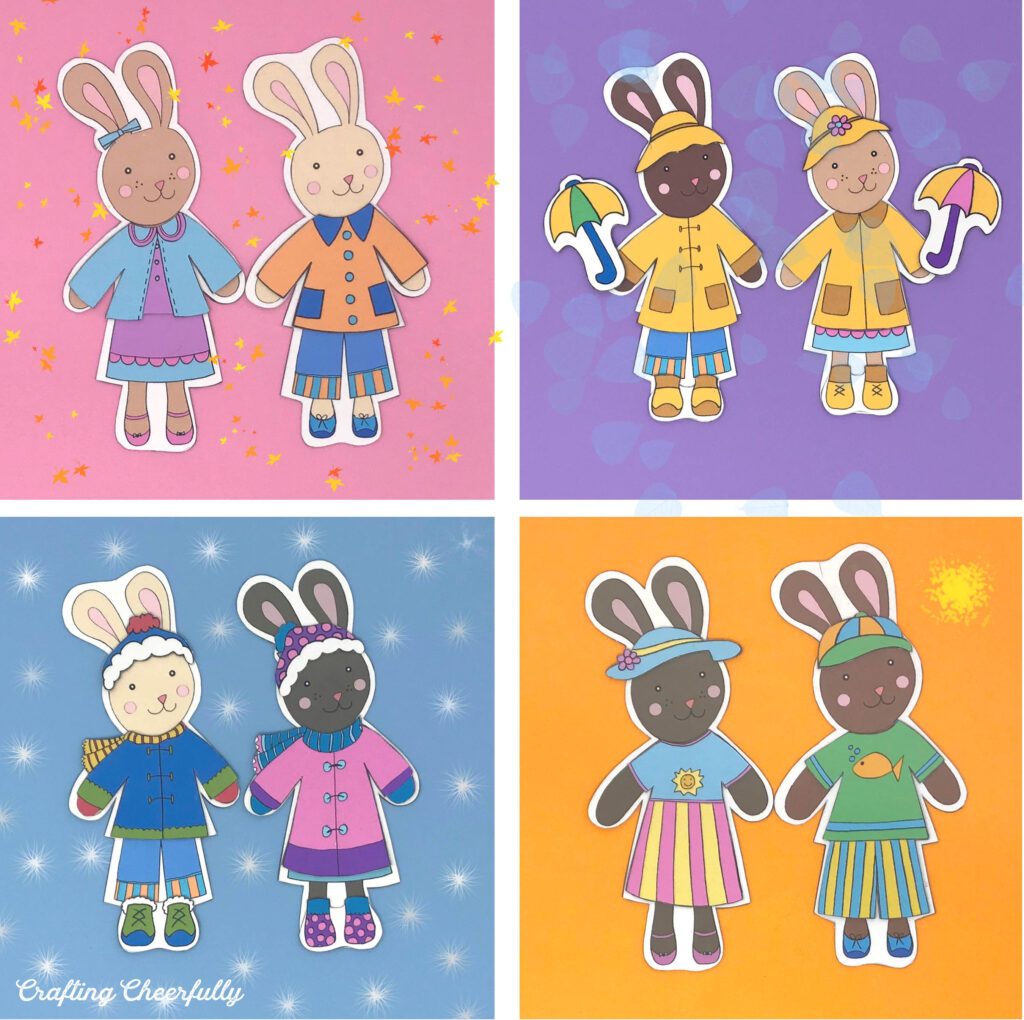 Bunnies Dress for the seasons in weather clothing!