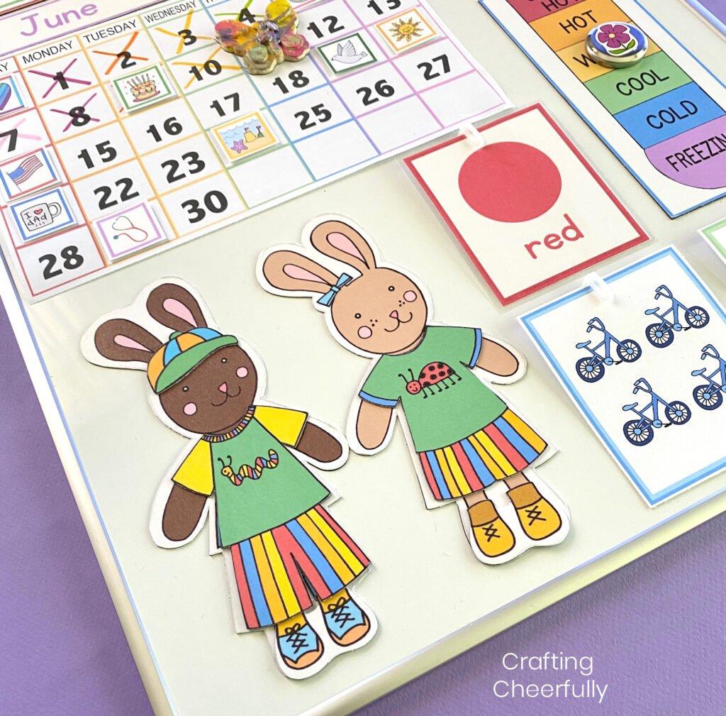 Calendar Bunnies in summer clothes on a children's calendar.