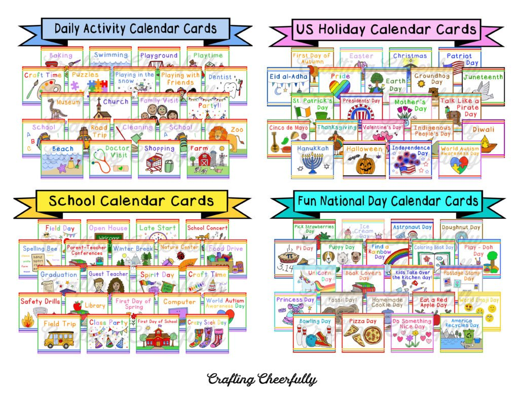 Calendar card sets including Daily Activity Cards, US Holiday Cards, School Calendar Cards and Fun National Days Cards.