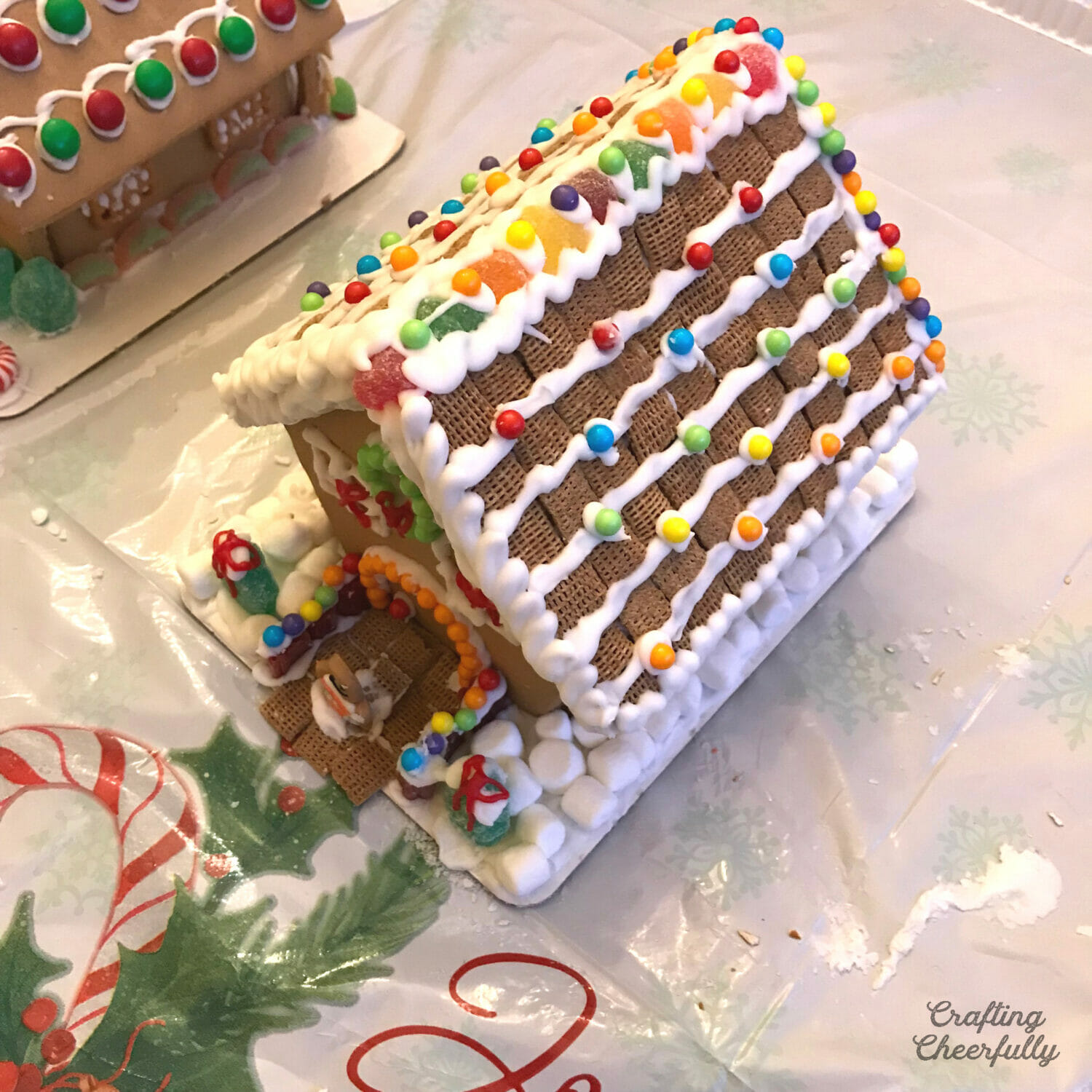 Gingerbread house at a gingerbread house decorating party