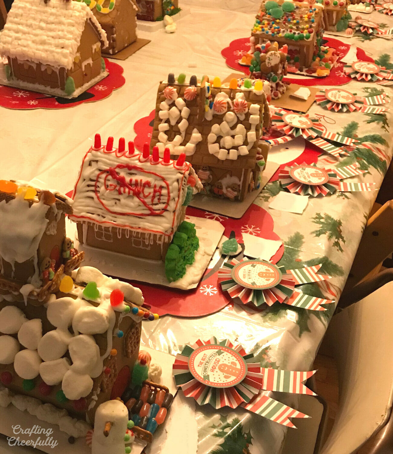 Gingerbread houses with award ribbons.