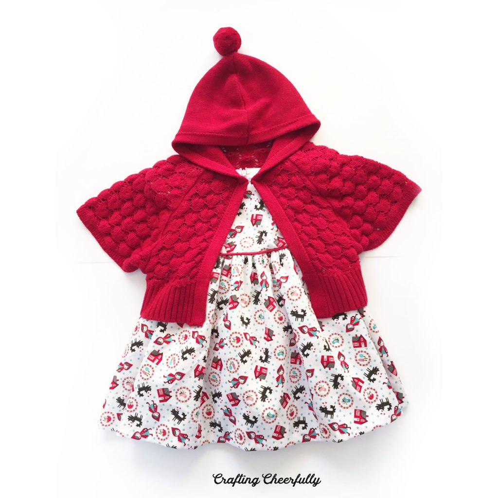 Little Red Riding Hood baby dress with red cape.