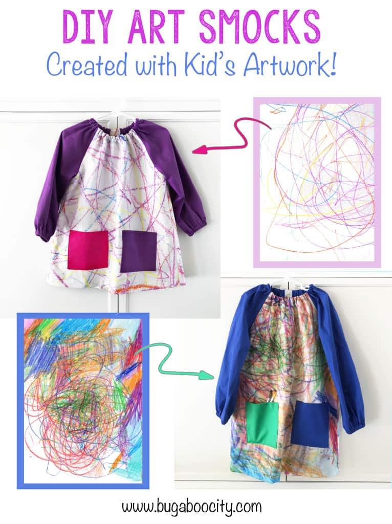 DIY Art Smocks created with Children's Artwork