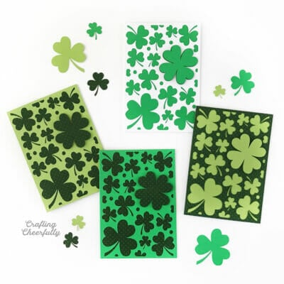 St. Patrick's Day cards covered in shamrocks.