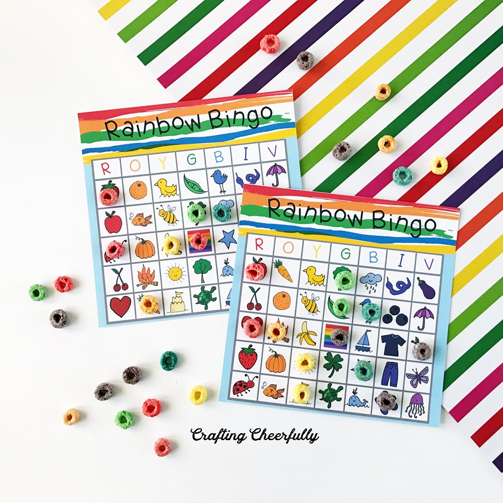 Colorful rainbow bingo boards with colorful cereals marking the pictures!