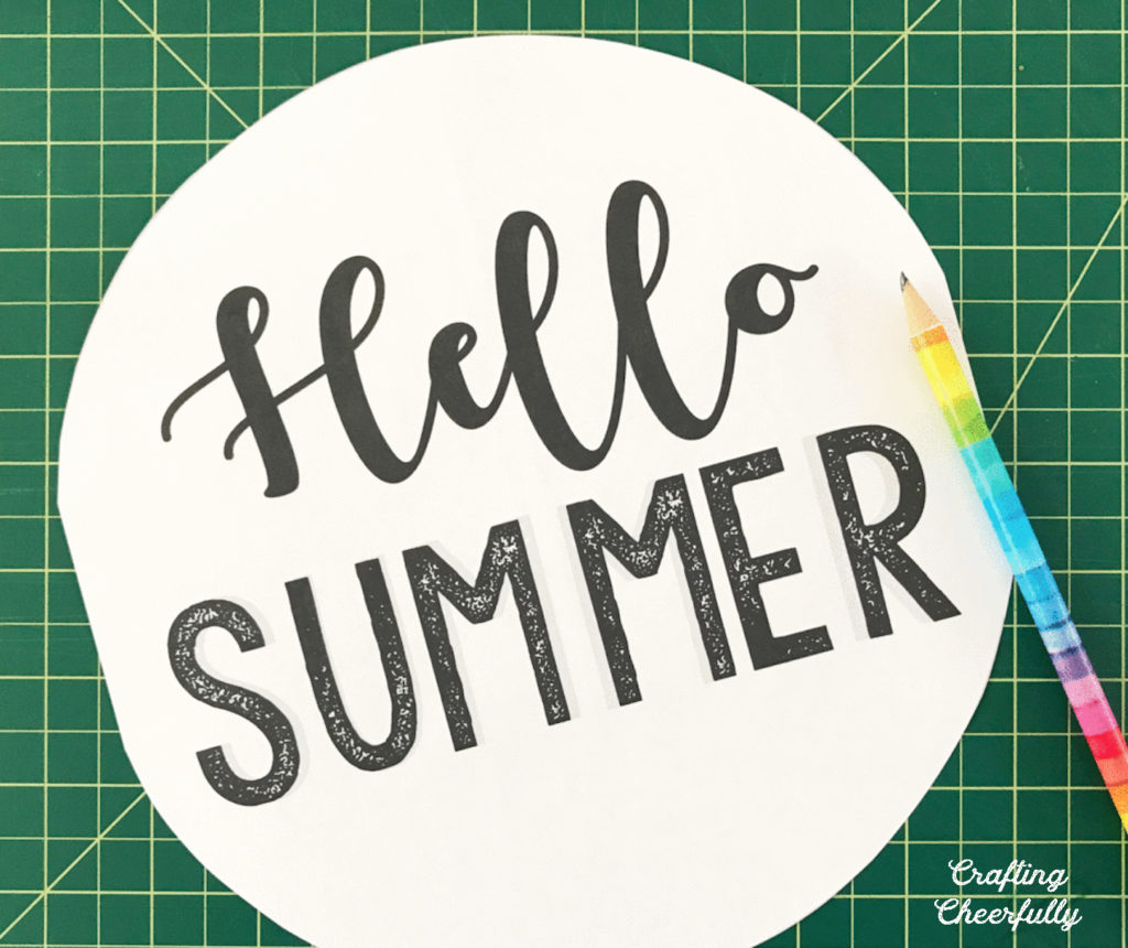 """Printable of the words """"Hello Summer"""" and a pencil laying next to it."""