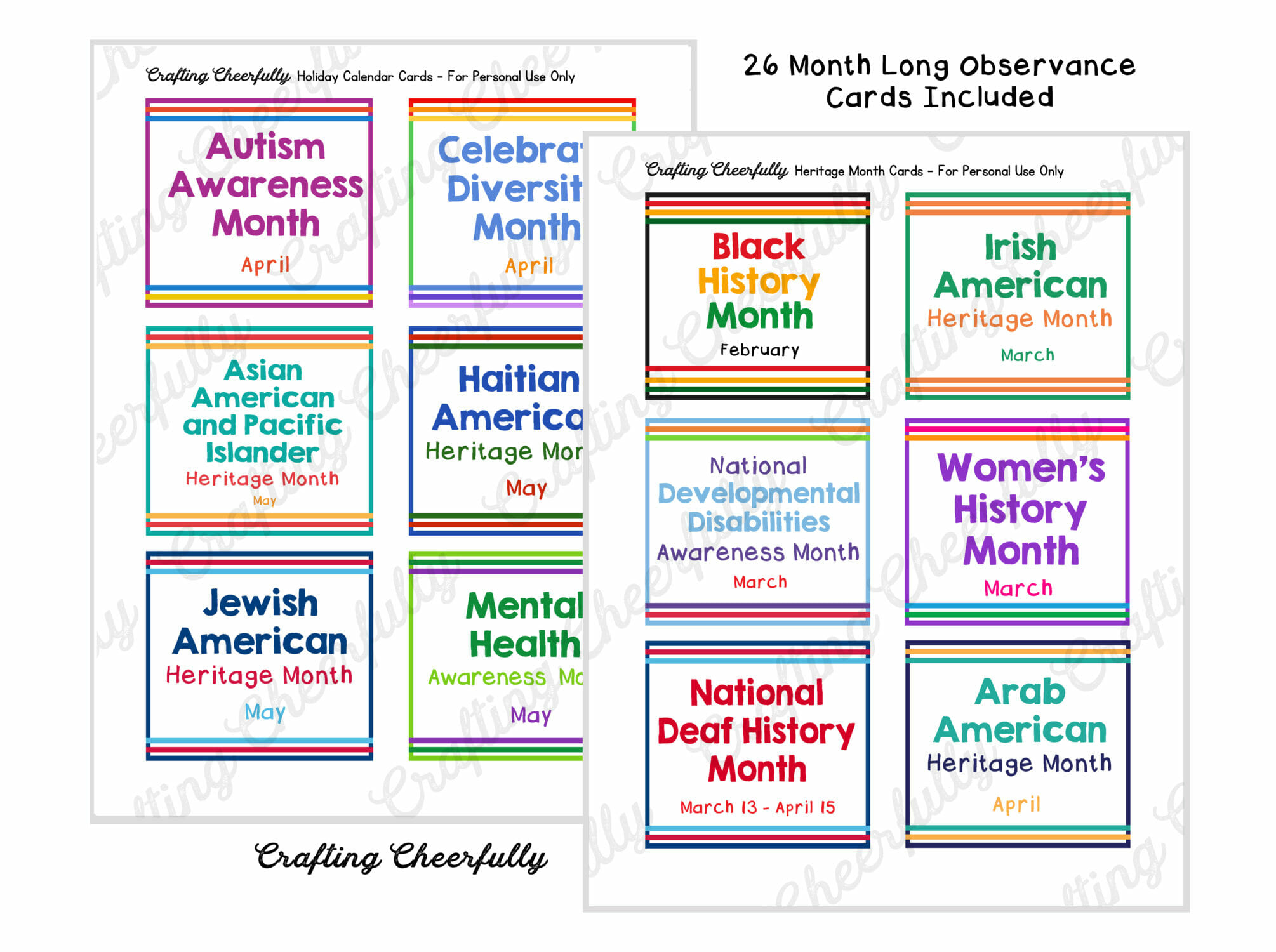 Month Long Observance Cards