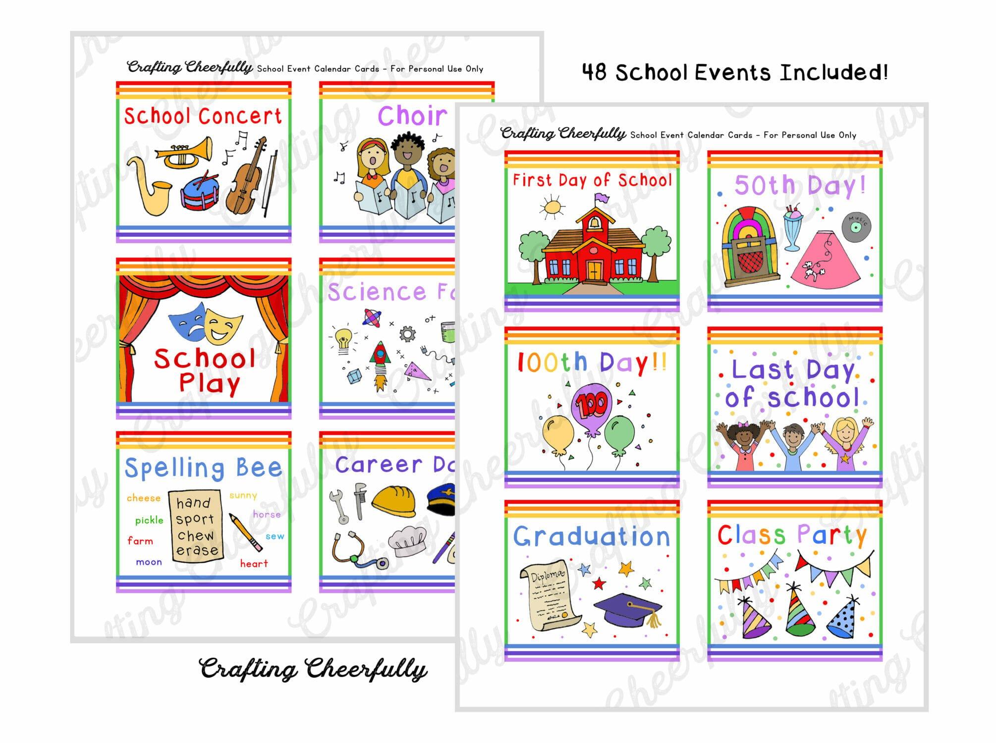 School Event Calendar Cards