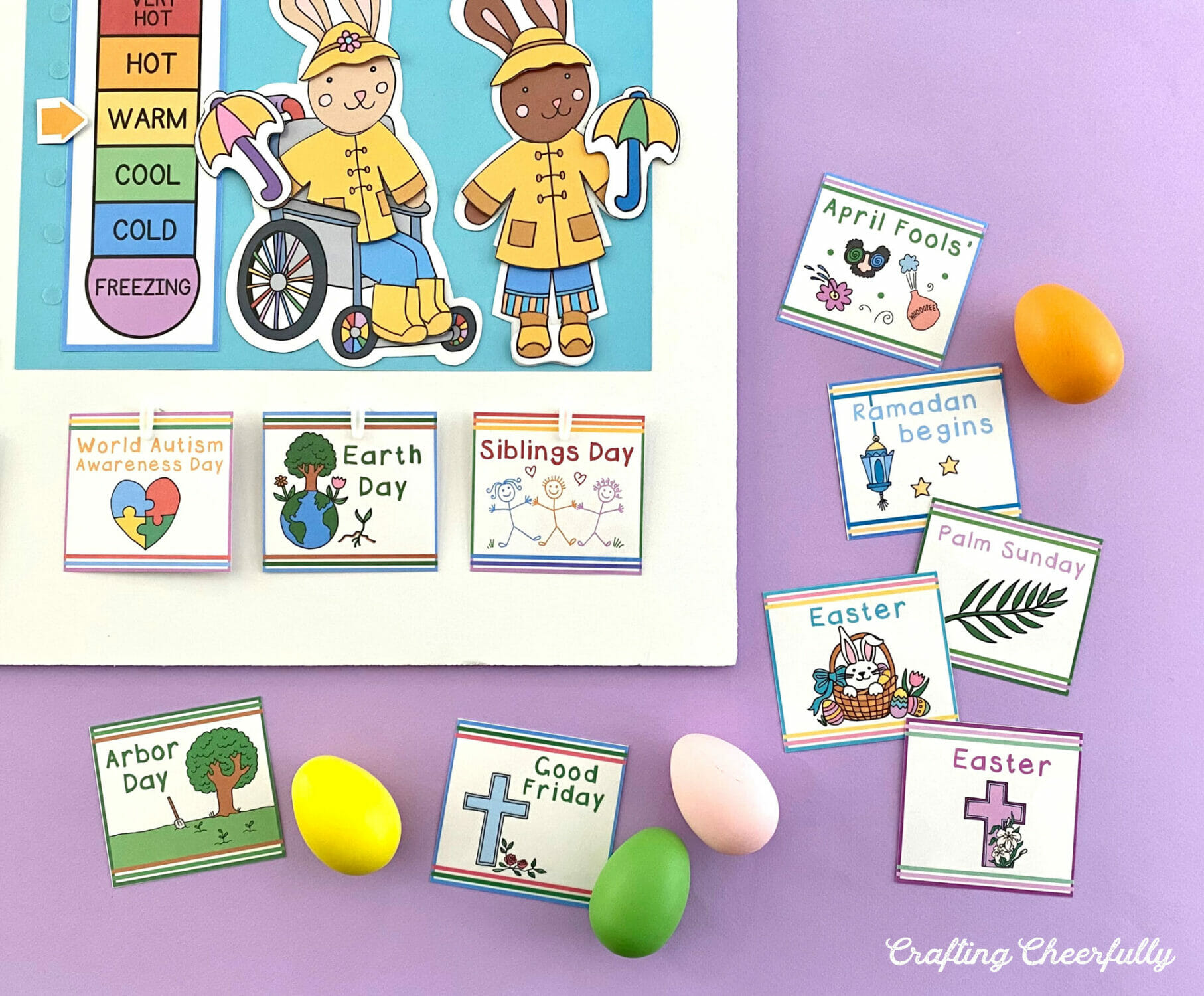 Morning board calendar for April with holiday cards and easter eggs on a purple background.