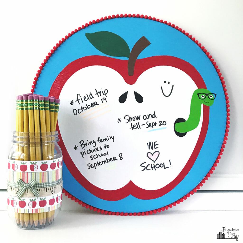 DIY Apple Dry Erase Board - Back to School