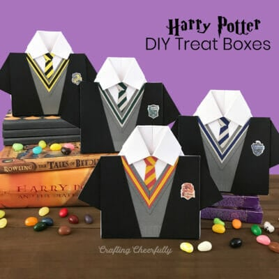 Harry Potter House robe boxes sitting on a stack of books with jellybeans around them.