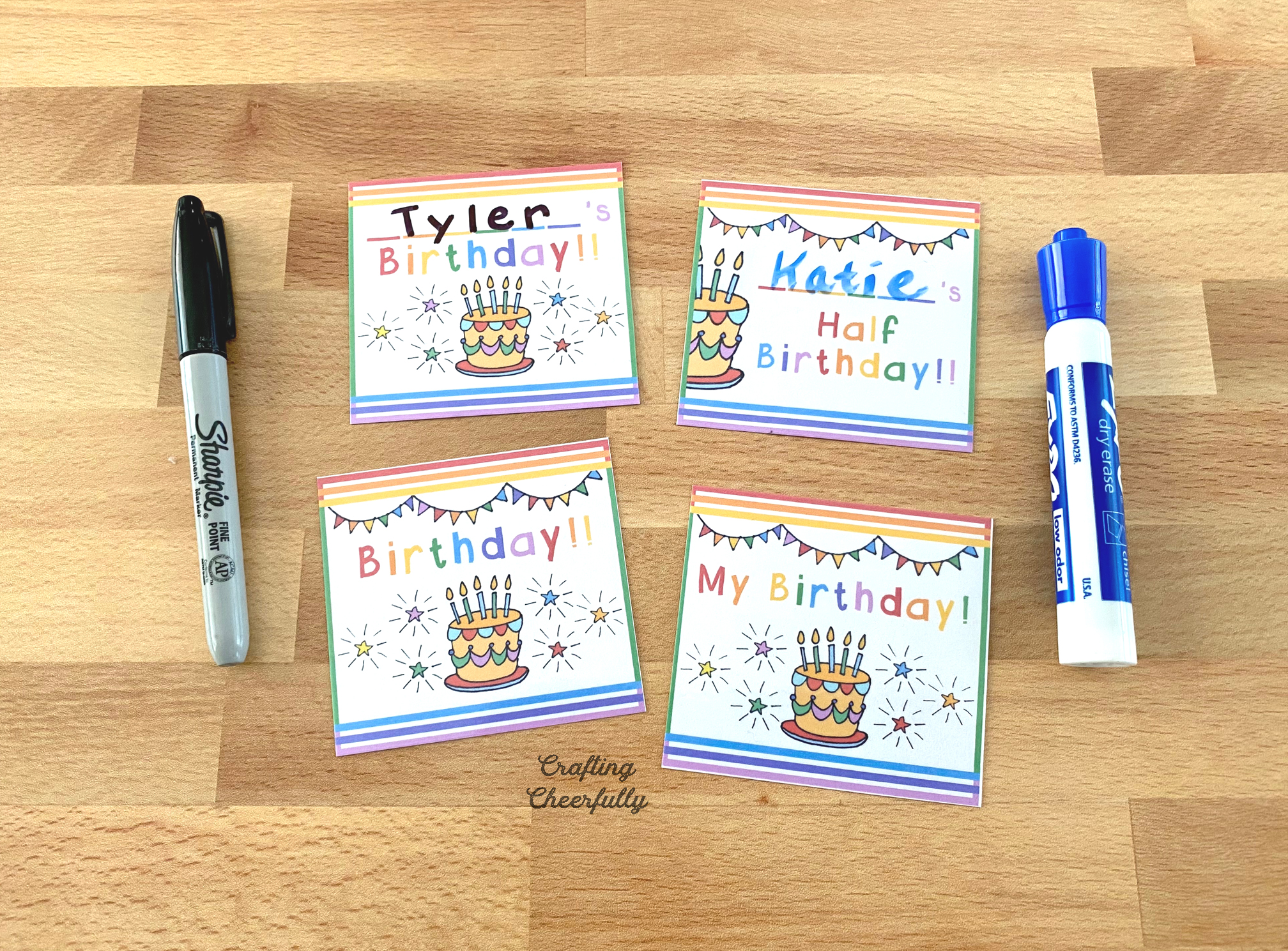 Birthday calendar cards with names written on them.