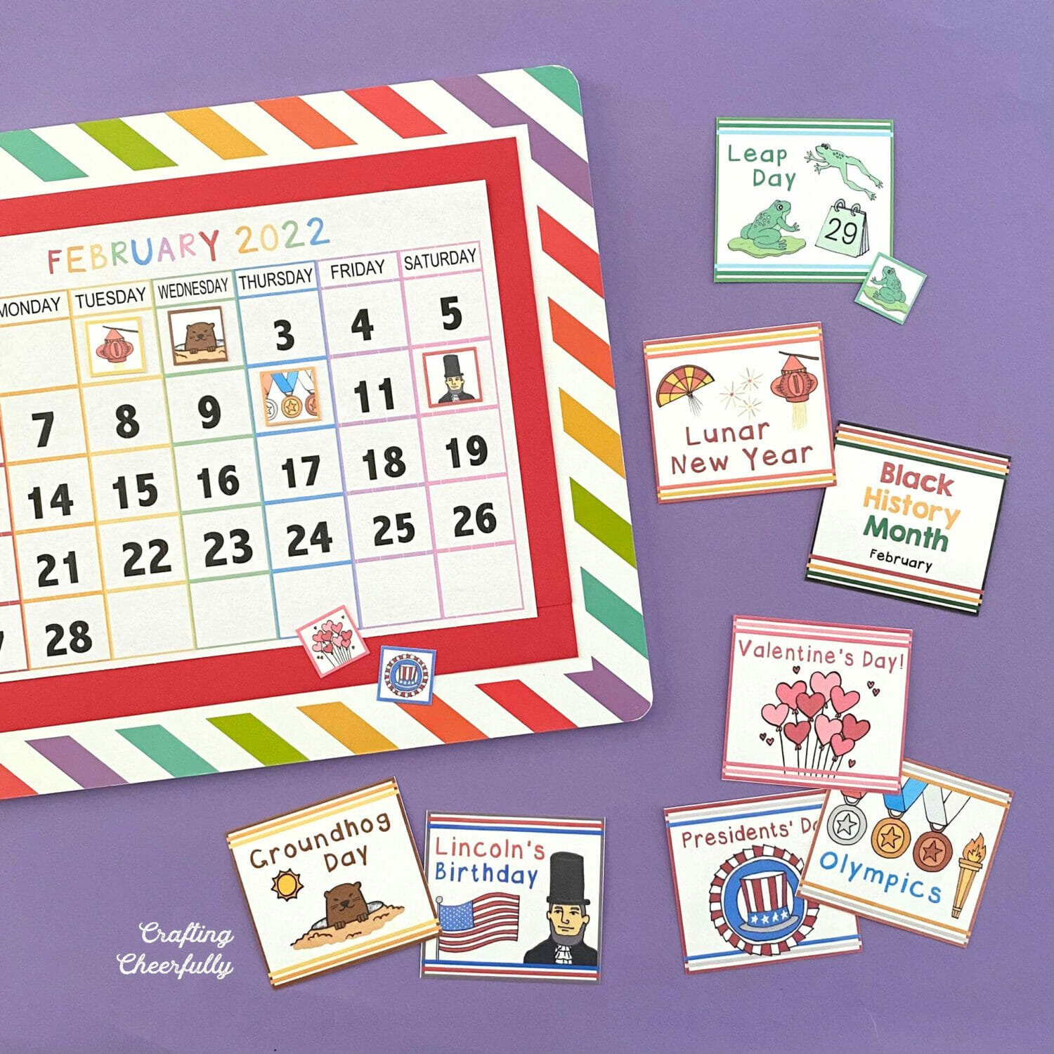 Holiday cards for February on a colorful and bright calendar board.