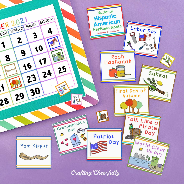 Holiday and School Calendar Cards with a printable calendar.