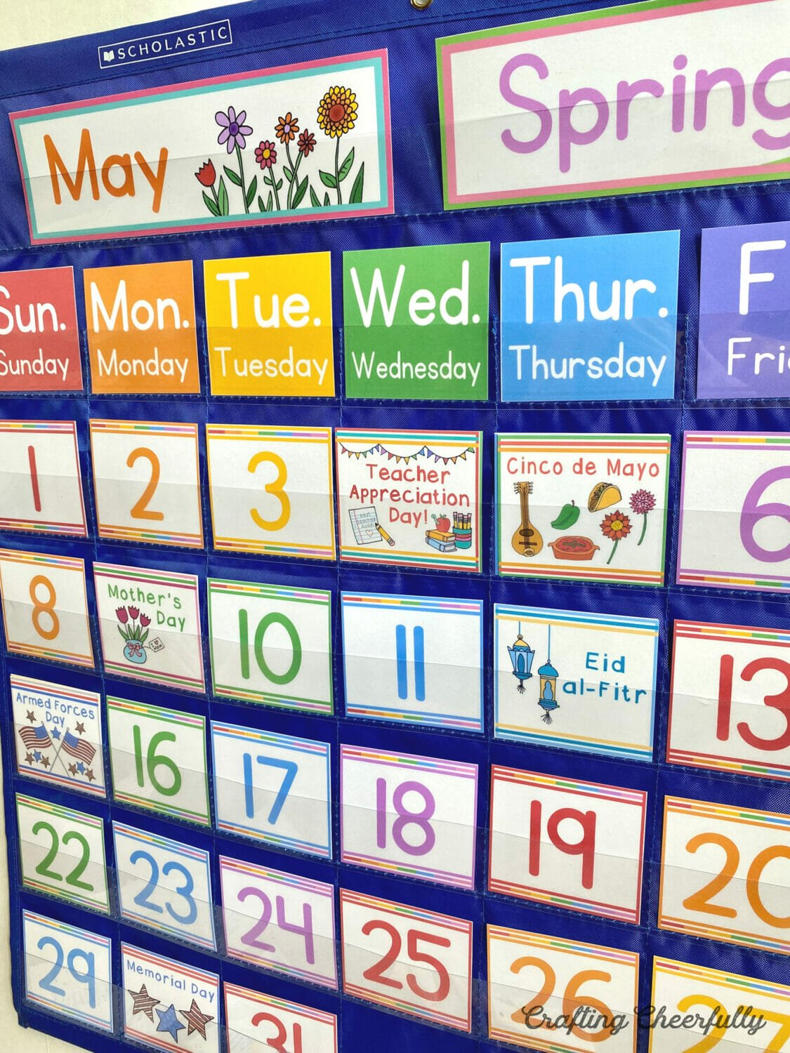 May pocket chart calendar with holidays in it