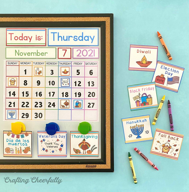 November calendar on a teal background with holiday calendar cards.