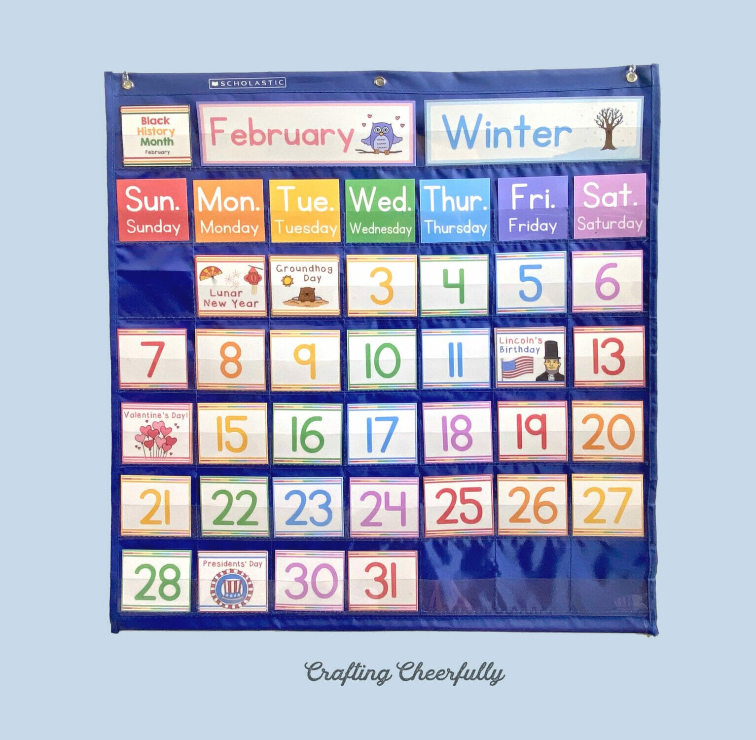 February Pocket Chart Calendar with Holiday Cards