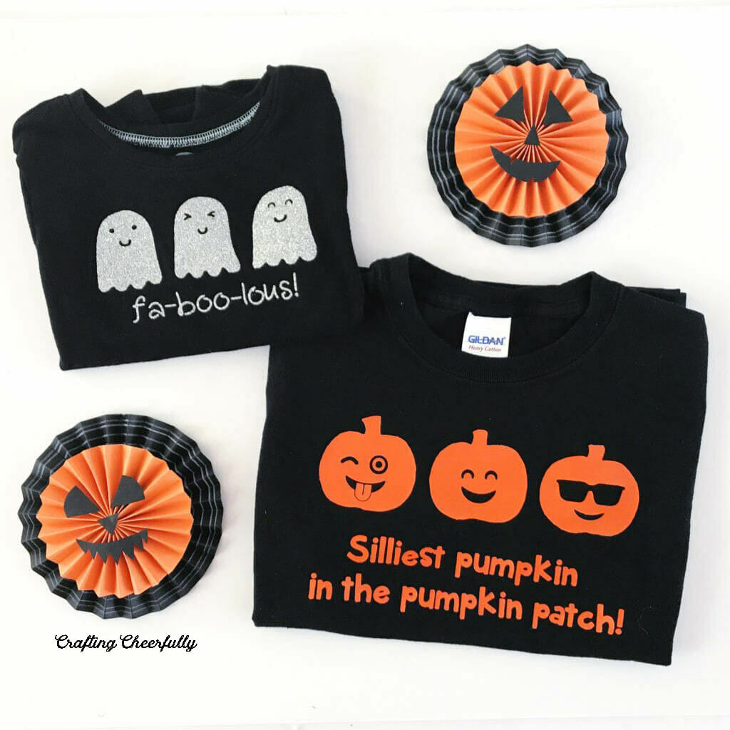 Black shirts with cute Halloween images made with Iron-On