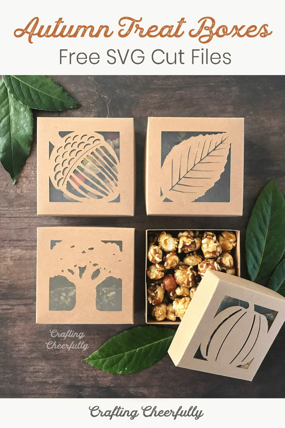 Autumn treat boxes featuring leaves, acorns, trees and pumpkins.