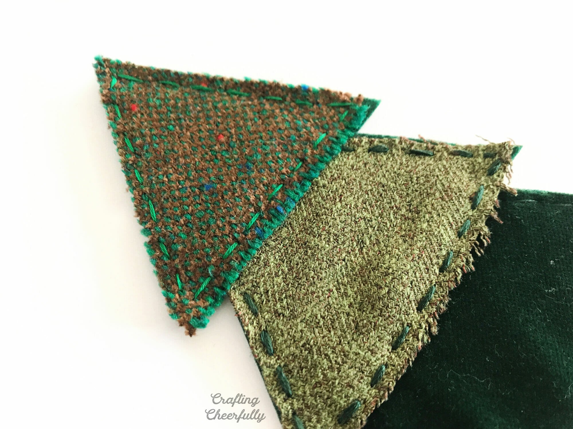 Close up picture showing a running stitch on parts of the Christmas tree banner pennant.