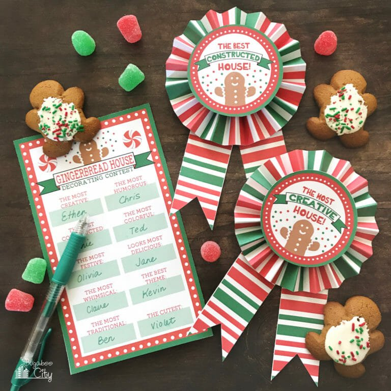Gingerbread House Party – Free Printable Award Ribbons
