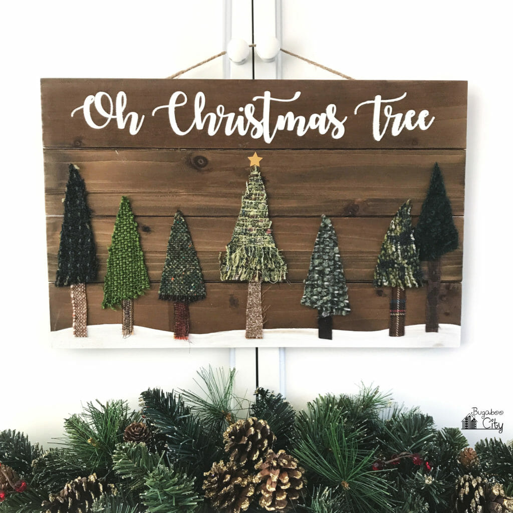 Oh Christmas Tree Wooden Sign made from fabric scraps!